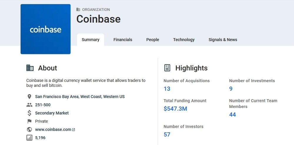 list of investments into coinbase