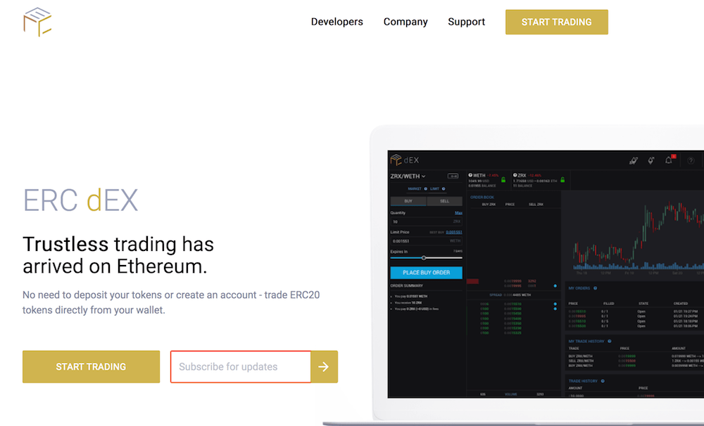 ERC decentralized eth exchange homepage
