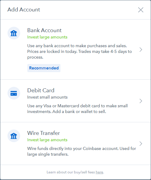 coinbase choose account type to link