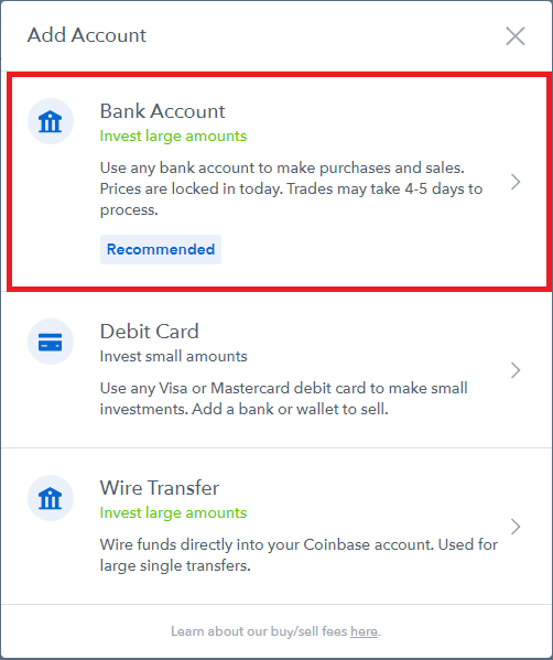 coinbase link bank account