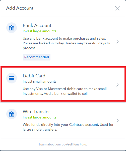 coinbase select debit card