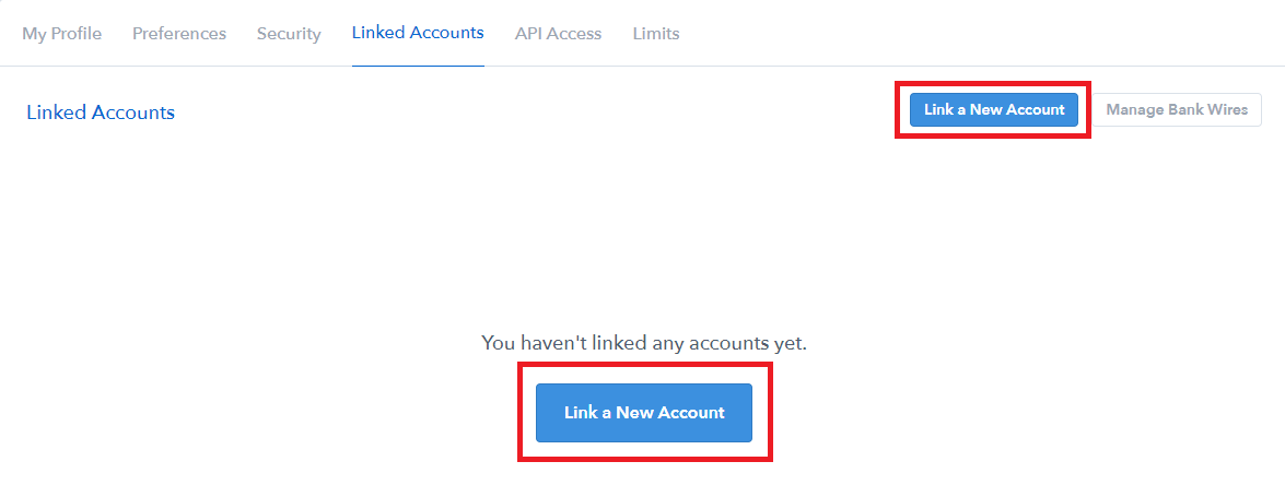 coinbase link new account