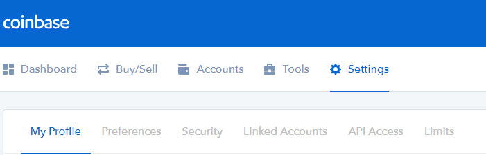 coinbase security tab