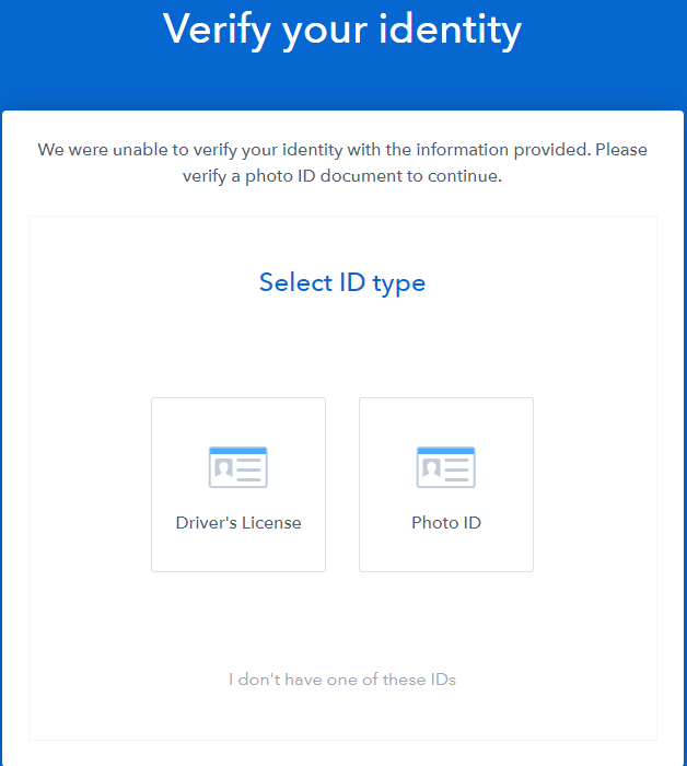 coinbase ID verification screen