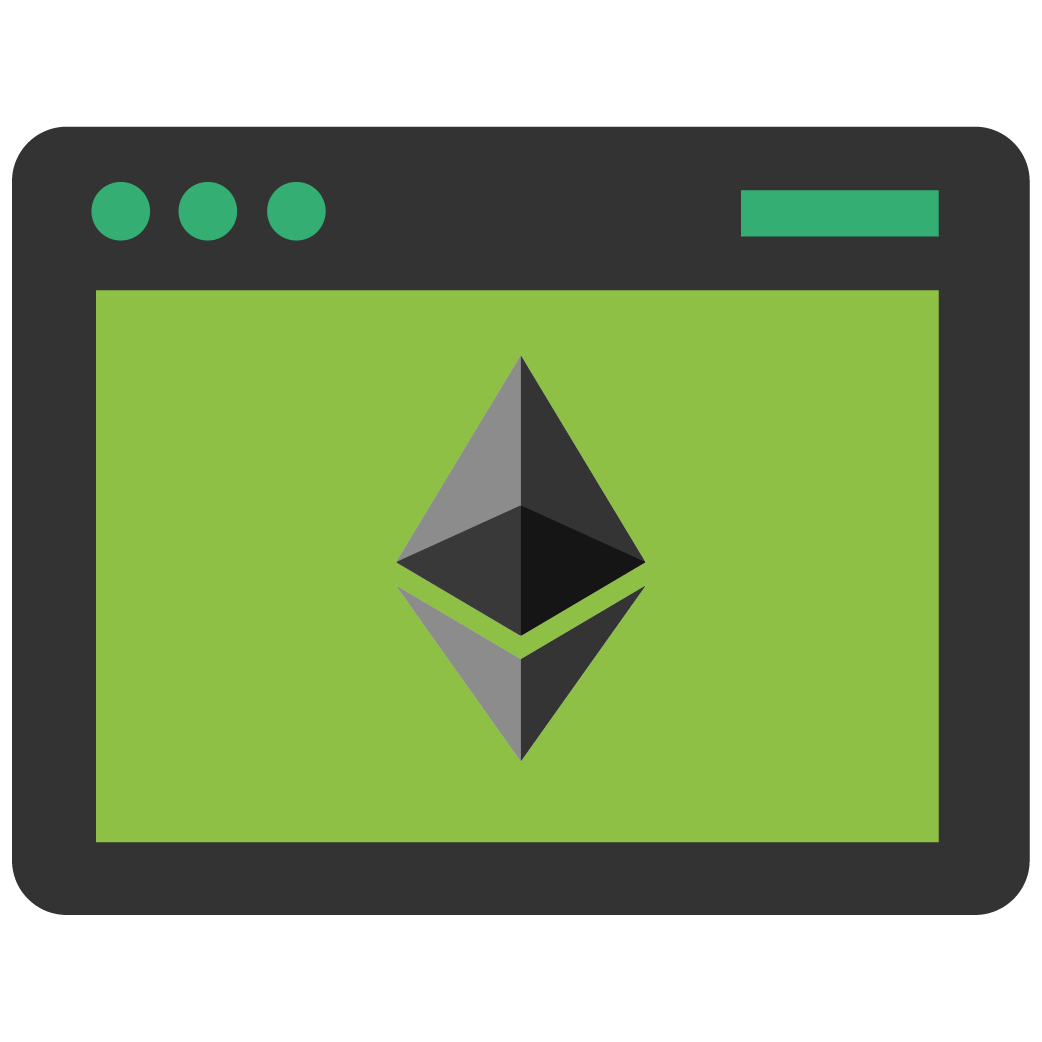 ethereum logo on desktop window