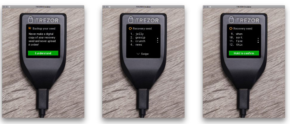 three views of trezor t screen
