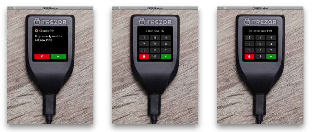 three more views of trezor t screen