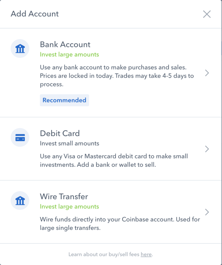 Add payment method account