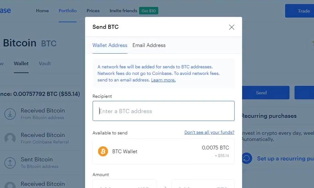 input address into coinbase