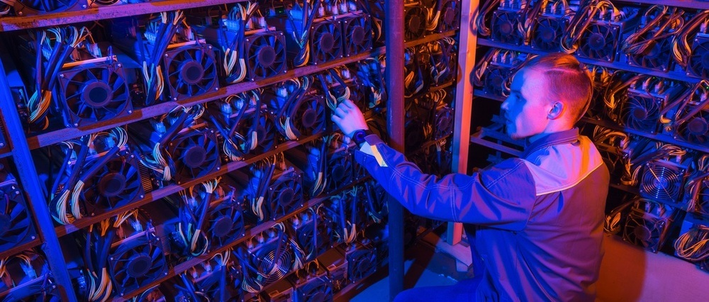 man working in mining farm