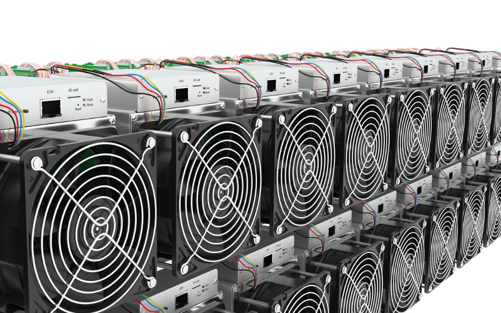 asic miners stacked