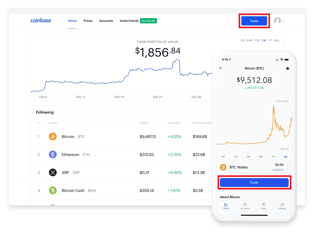 Trade button on coinbase