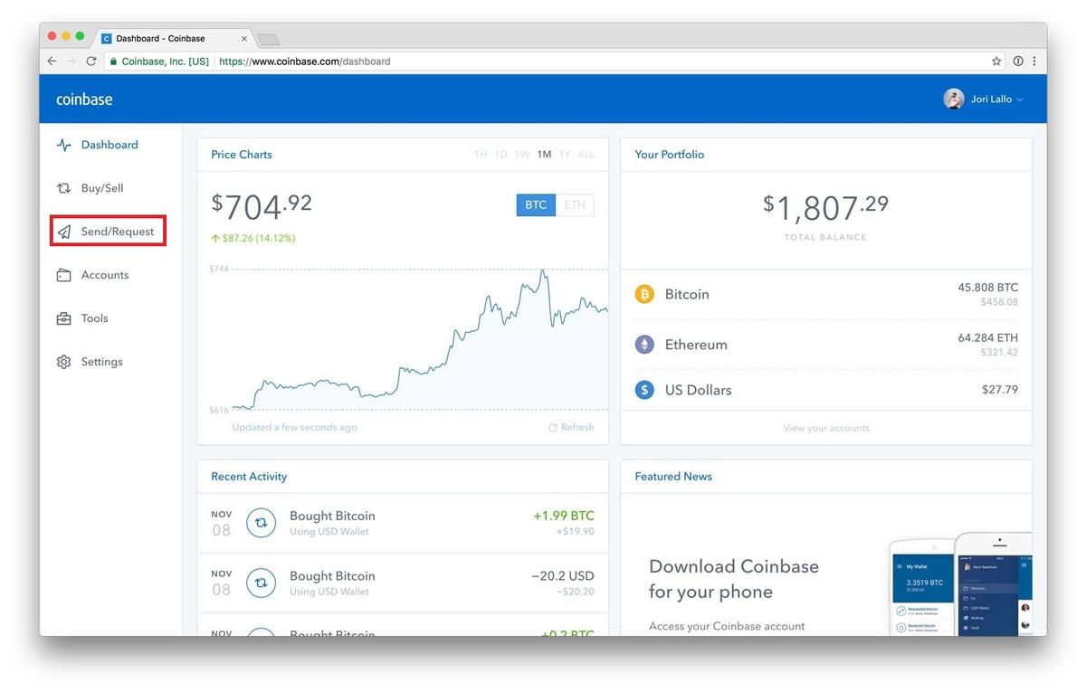 send/request on coinbase