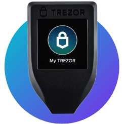 trezor model t with blue background
