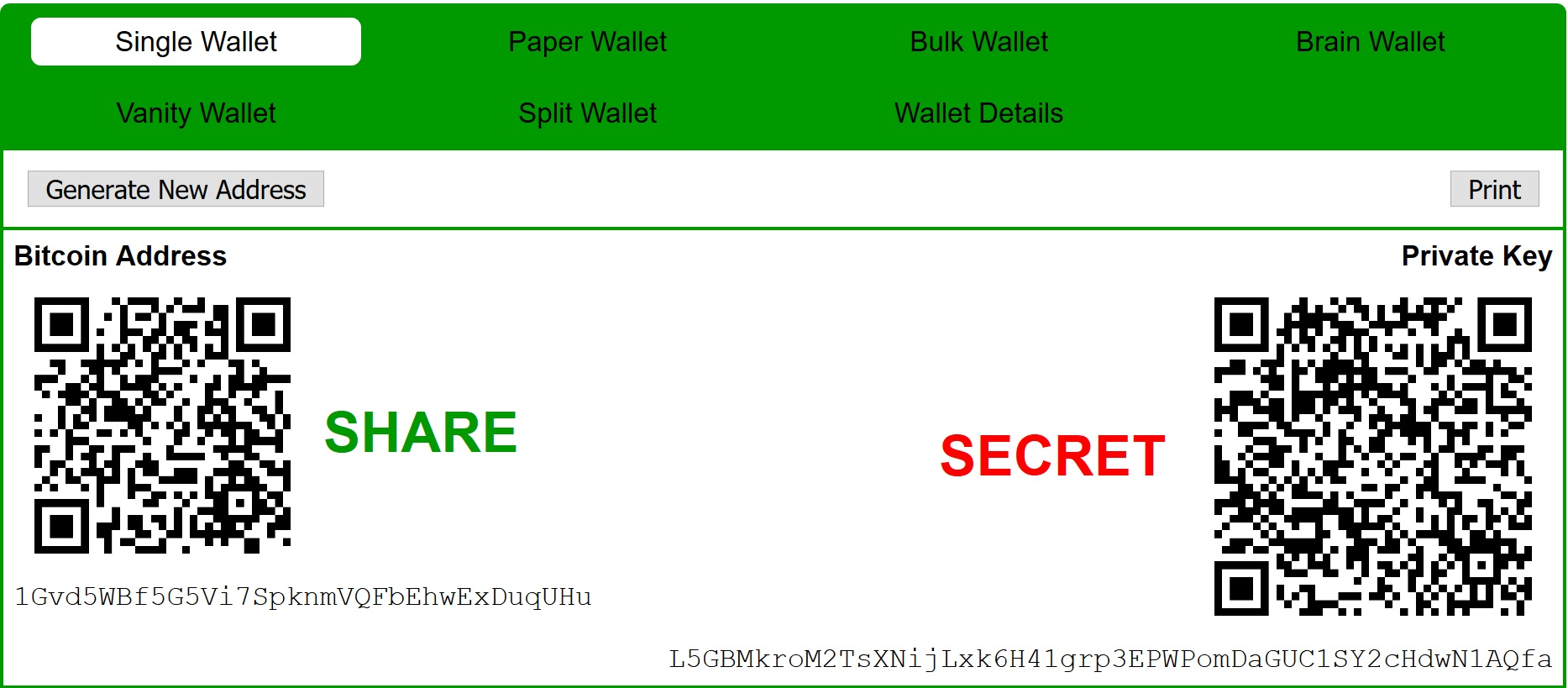 public and private key on paper wallet