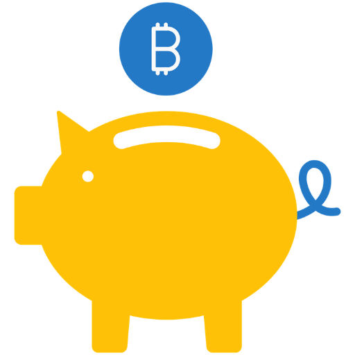 yellow bitcoin piggy bank icon