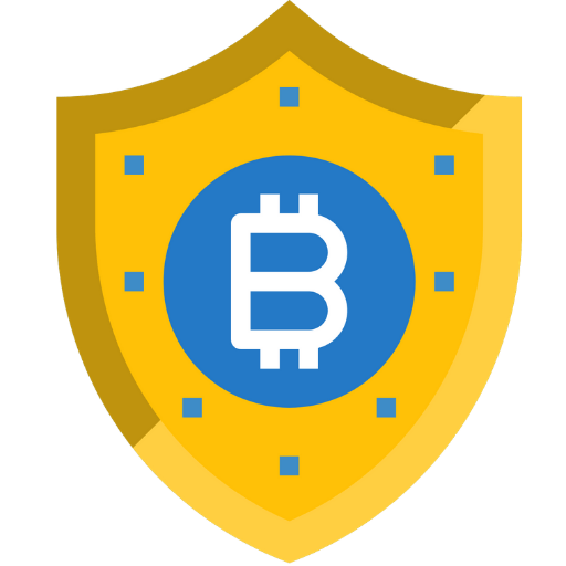 yellow bitcoin shield icon