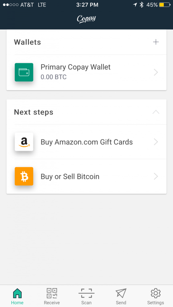 3 best bitcoin wallets for ios iphone ipad 2018 updated along the bottom of the homepage youll find the home button receive scan send and settings icon options ccuart Images