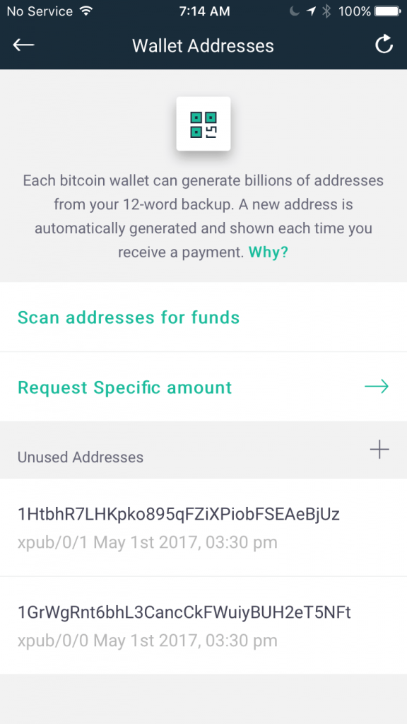 NOTE Each Bitcoin Wallet Can Generate Billions Of Addresses From Your 12 Word Backup A New Address Is Automatically Generated And Shown Time You