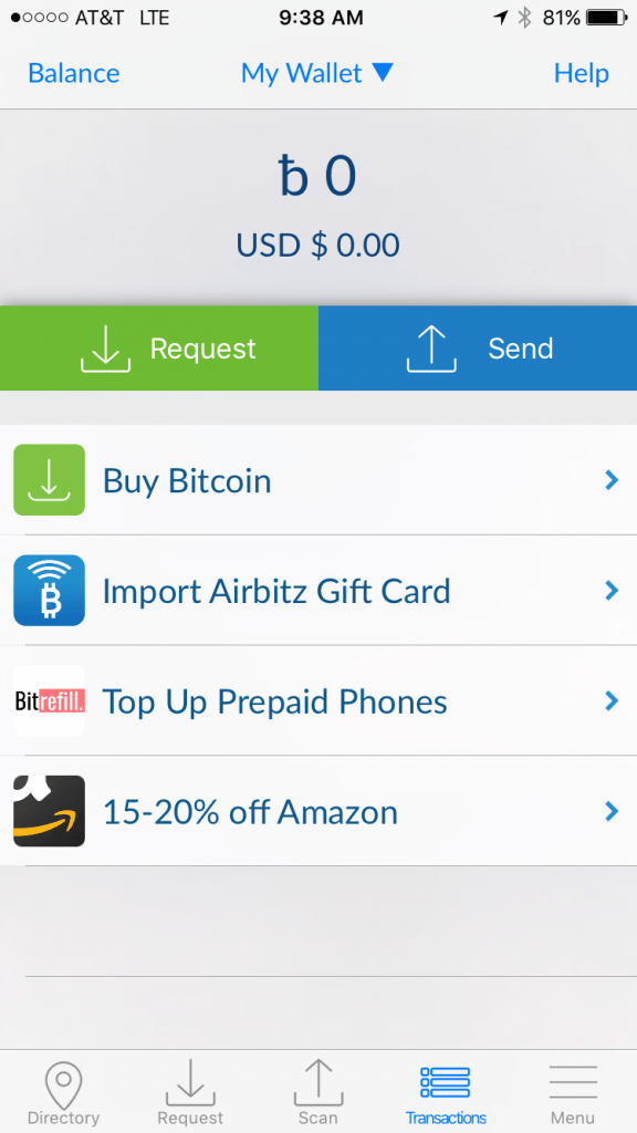 3 best bitcoin wallets for ios iphone ipad 2018 updated along the bottom of your homepage you will find access to the directory recieve send transactions and menu options ccuart Images